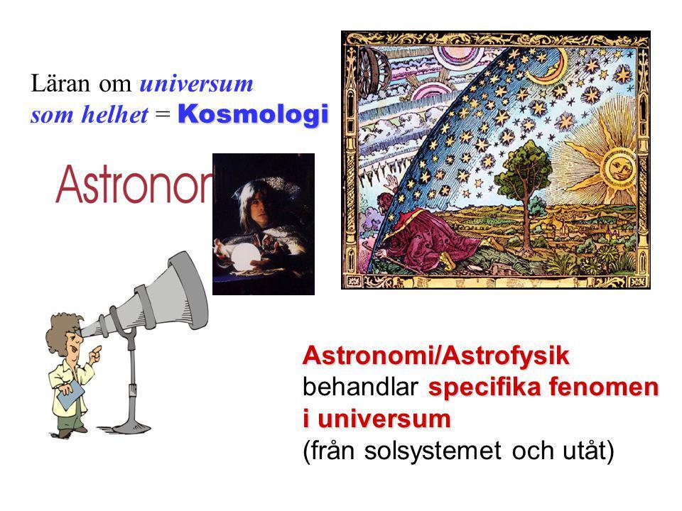 Läran om universum som helhet = Kosmologi. Astronomi/Astrofysik. behandlar specifika fenomen. i universum.