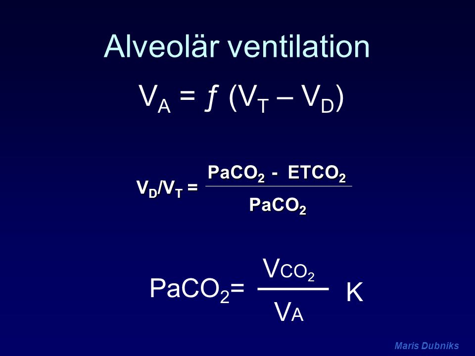 Alveolär ventilation VA = ƒ (VT – VD) VCO2 PaCO2= K VA PaCO2 - ETCO2