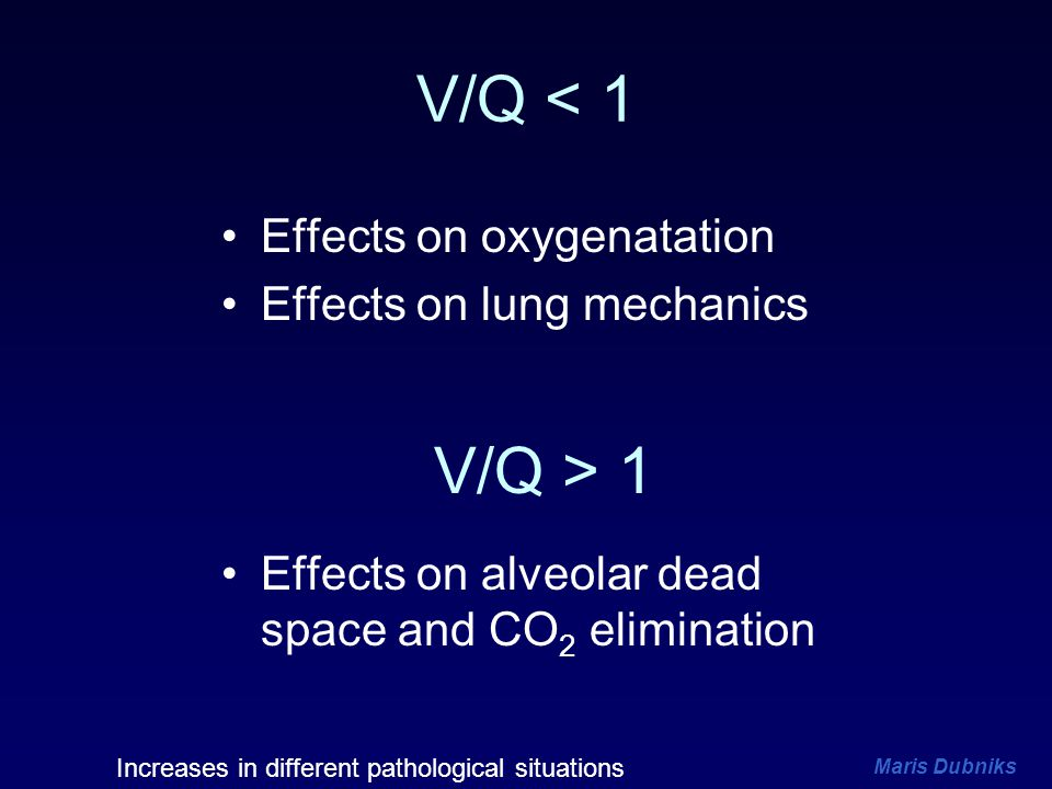 V/Q < 1 V/Q > 1 Effects on oxygenatation