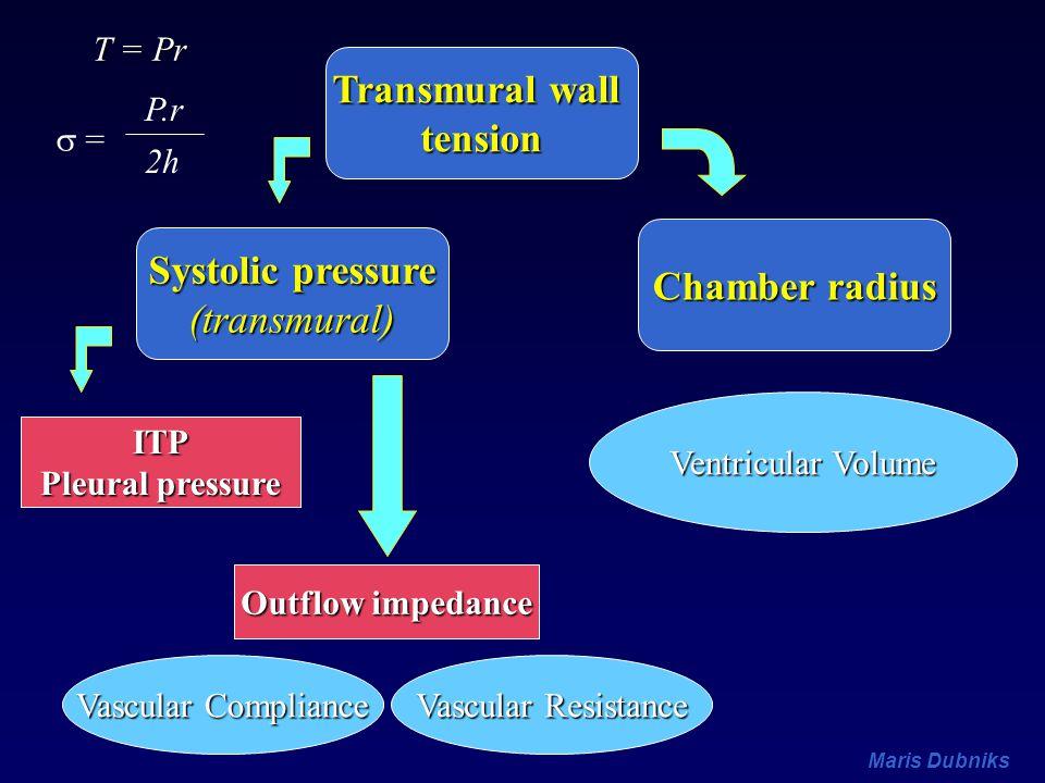 Transmural wall tension Chamber radius Systolic pressure