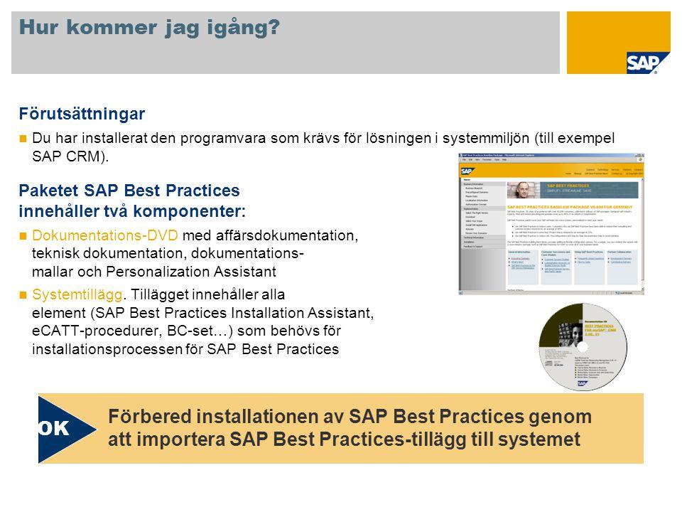 Hur kommer jag igång Förutsättningar. Du har installerat den programvara som krävs för lösningen i systemmiljön (till exempel SAP CRM).