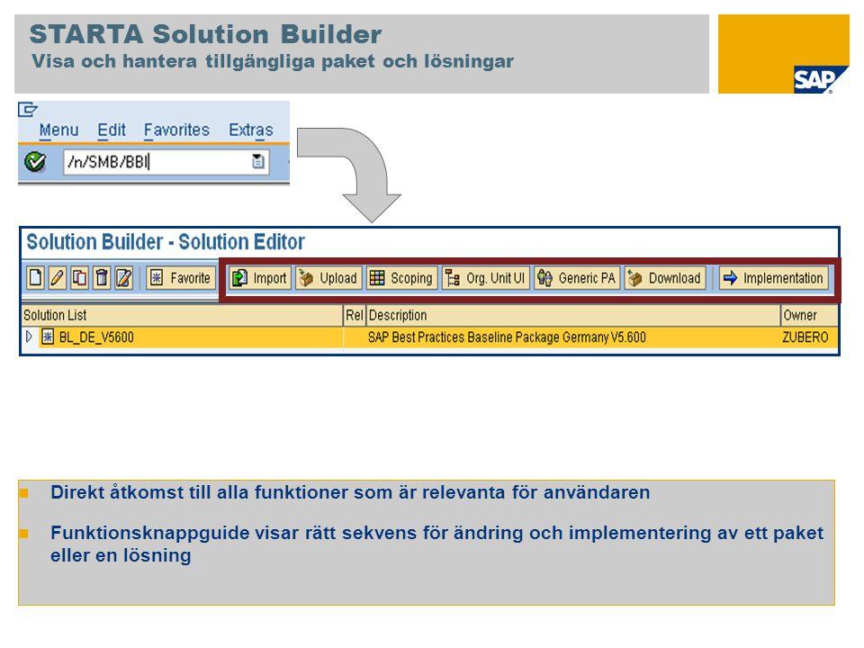 STARTA Solution Builder Visa och hantera tillgängliga paket och lösningar