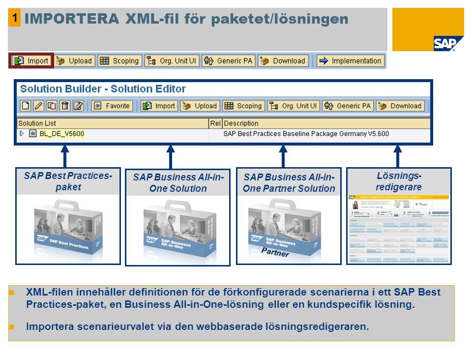 IMPORTERA XML-fil för paketet/lösningen