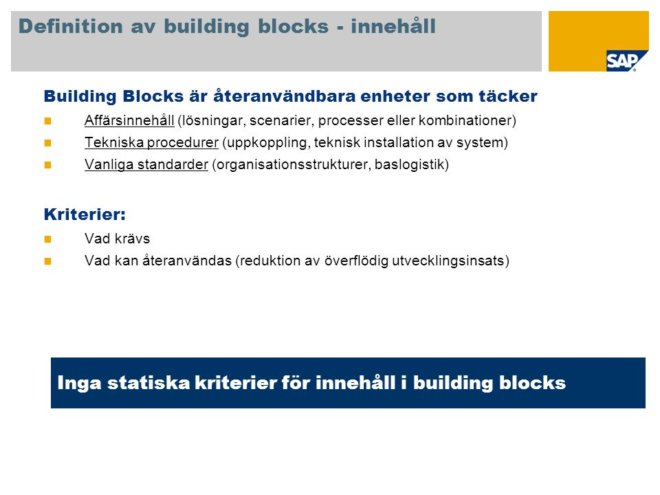 Definition av building blocks - innehåll