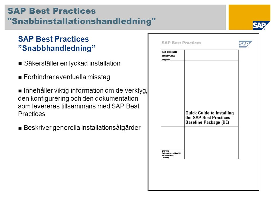 SAP Best Practices Snabbinstallationshandledning