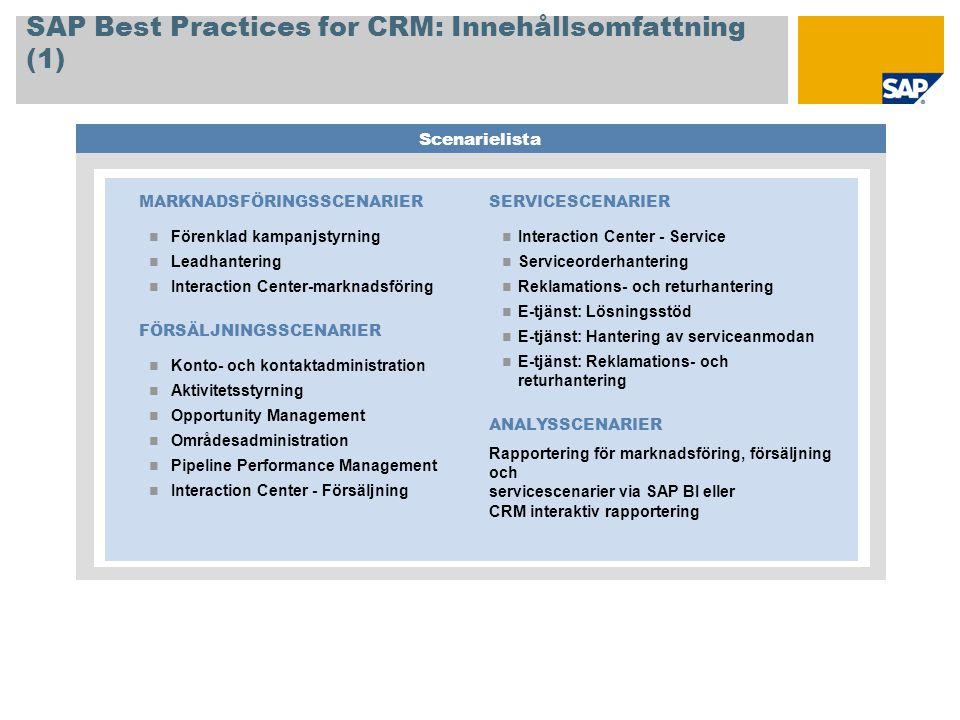SAP Best Practices for CRM: Innehållsomfattning (1)