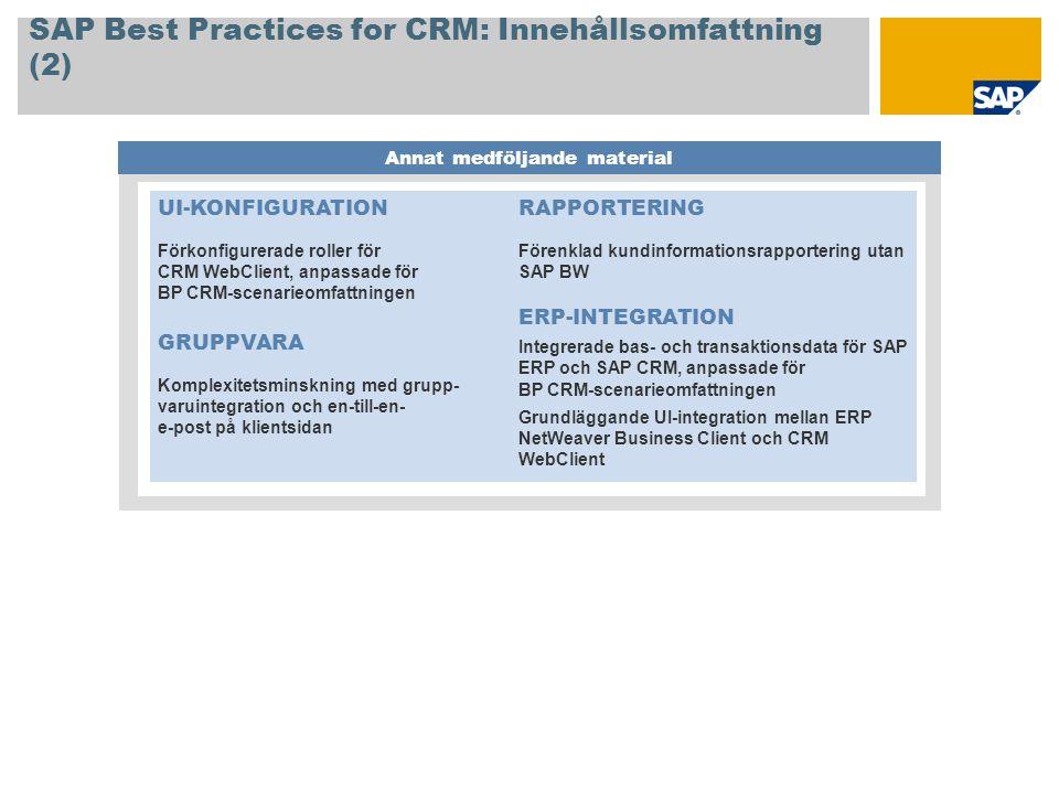 SAP Best Practices for CRM: Innehållsomfattning (2)