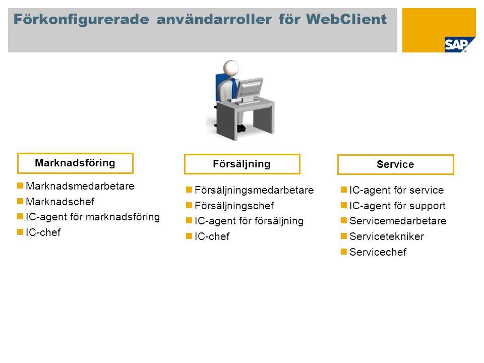 Förkonfigurerade användarroller för WebClient