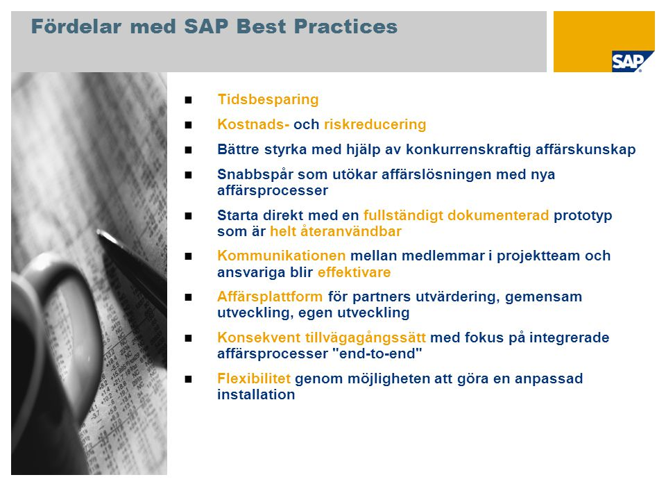 Fördelar med SAP Best Practices