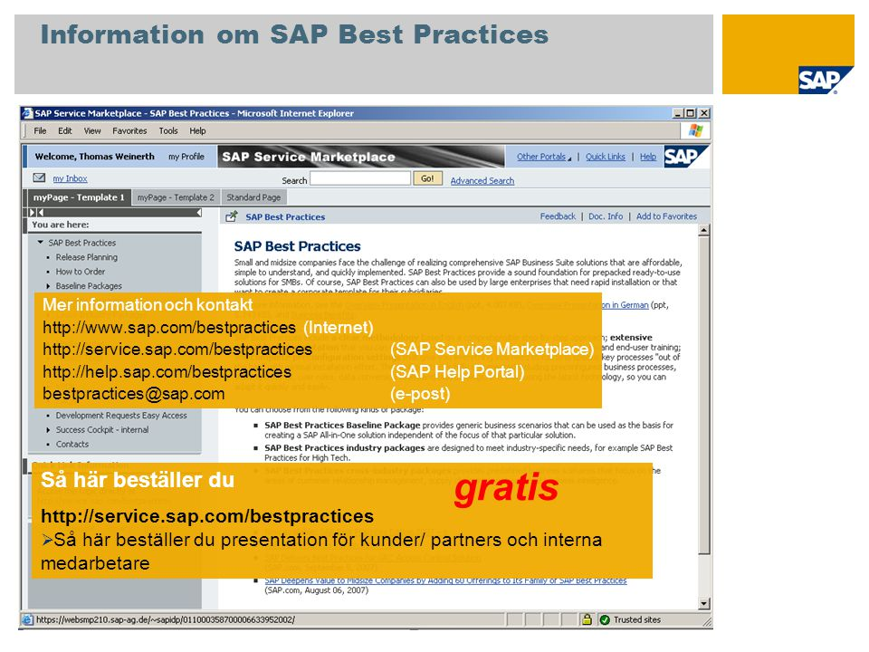Information om SAP Best Practices