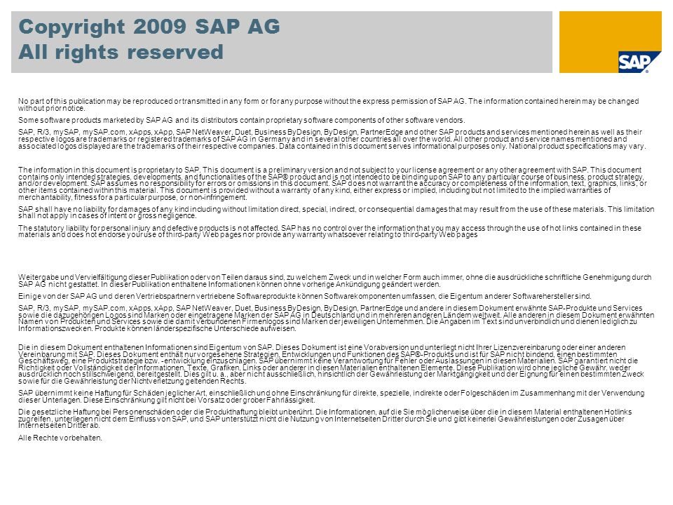 Copyright 2009 SAP AG All rights reserved