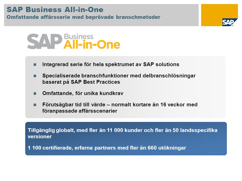 SAP Business All-in-One Omfattande affärsserie med beprövade branschmetoder