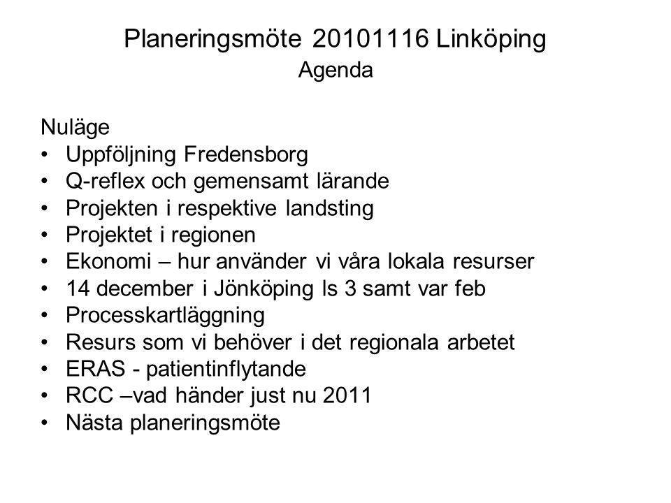 Planeringsmöte 20101116 Linköping Agenda