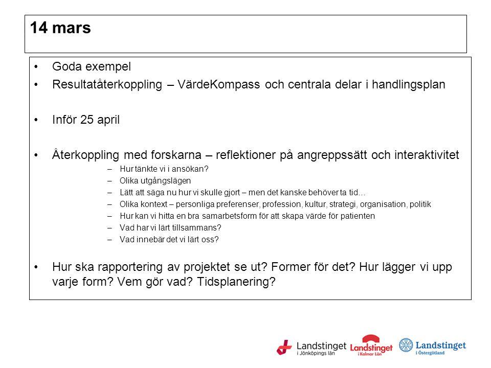 14 mars Goda exempel. Resultatåterkoppling – VärdeKompass och centrala delar i handlingsplan. Inför 25 april.