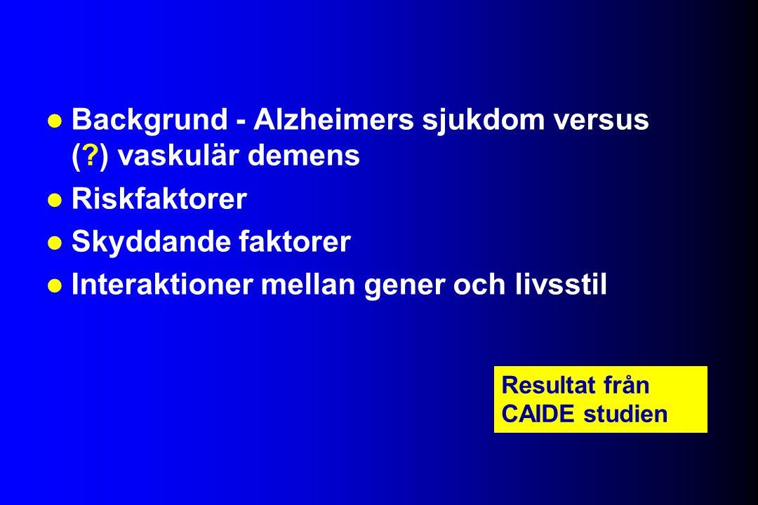 Backgrund - Alzheimers sjukdom versus ( ) vaskulär demens Riskfaktorer