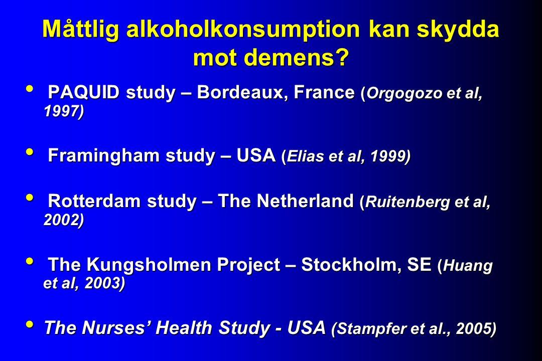 Måttlig alkoholkonsumption kan skydda mot demens