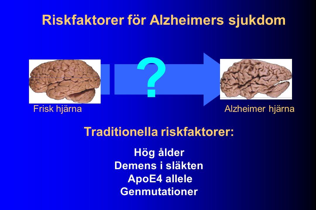 Riskfaktorer för Alzheimers sjukdom Traditionella riskfaktorer: