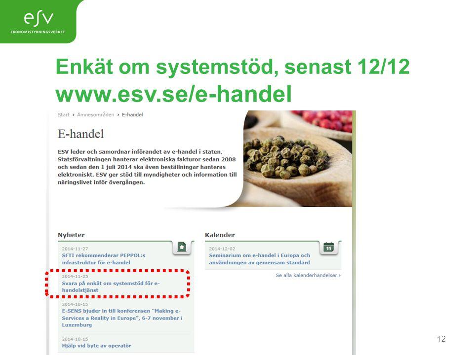 Enkät om systemstöd, senast 12/12 www.esv.se/e-handel