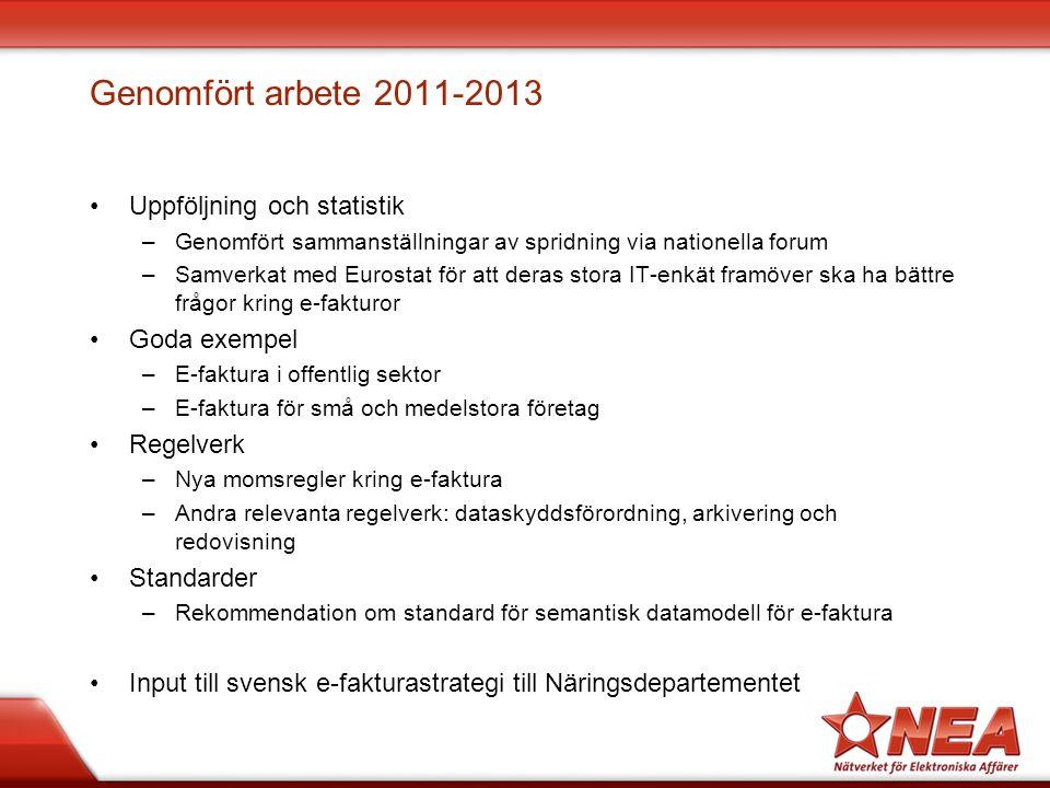Genomfört arbete 2011-2013 Uppföljning och statistik Goda exempel