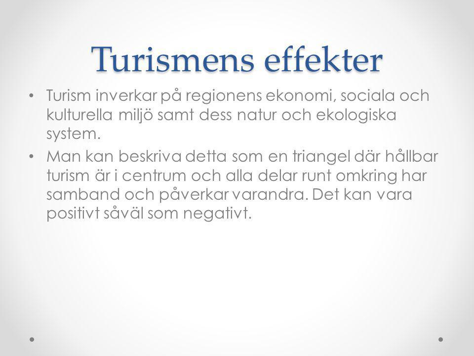 Turismens effekter Turism inverkar på regionens ekonomi, sociala och kulturella miljö samt dess natur och ekologiska system.