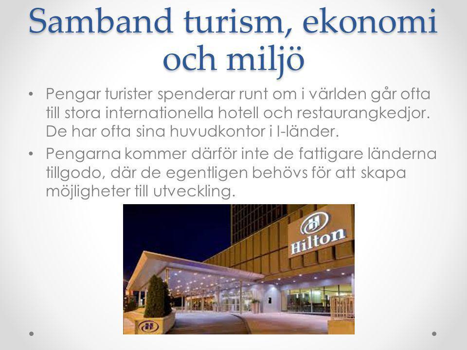 Samband turism, ekonomi och miljö