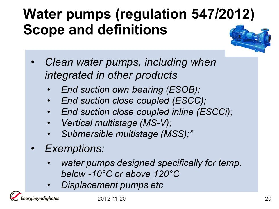Water pumps (regulation 547/2012) Scope and definitions
