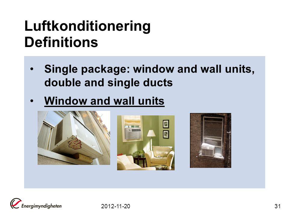 Luftkonditionering Definitions