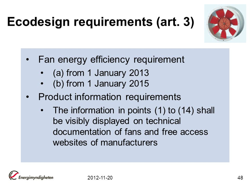 Ecodesign requirements (art. 3)