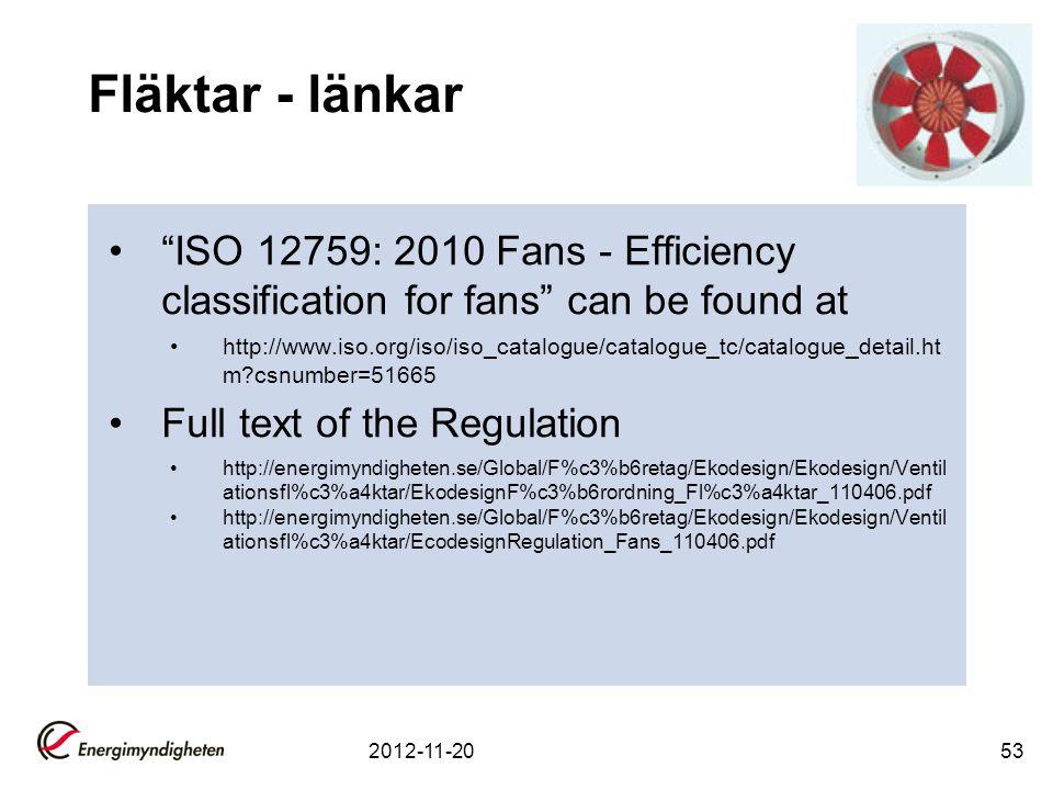 Fläktar - länkar ISO 12759: 2010 Fans - Efficiency classification for fans can be found at.