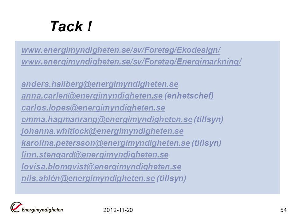Tack ! www.energimyndigheten.se/sv/Foretag/Ekodesign/