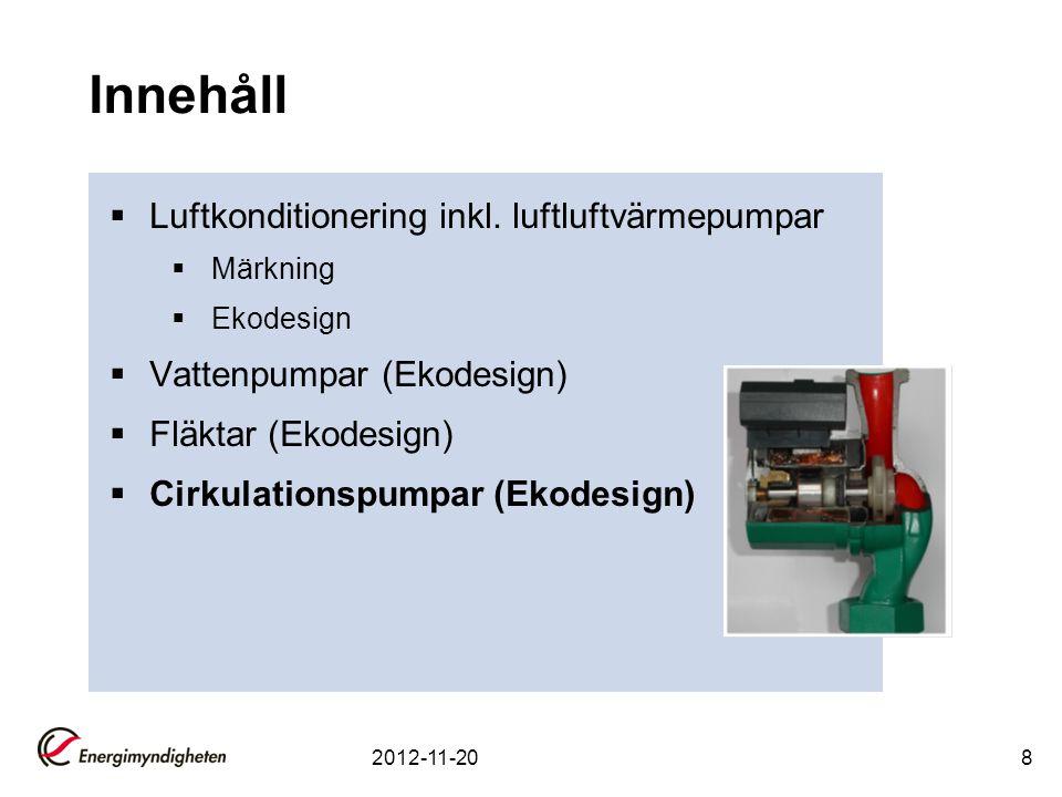 Innehåll Luftkonditionering inkl. luftluftvärmepumpar