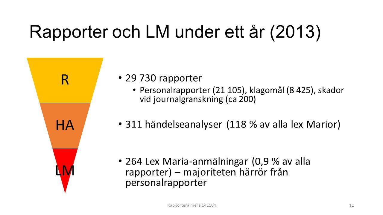 Rapporter och LM under ett år (2013)