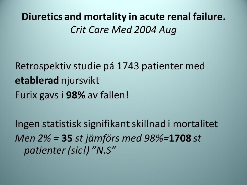 Diuretics and mortality in acute renal failure. Crit Care Med 2004 Aug
