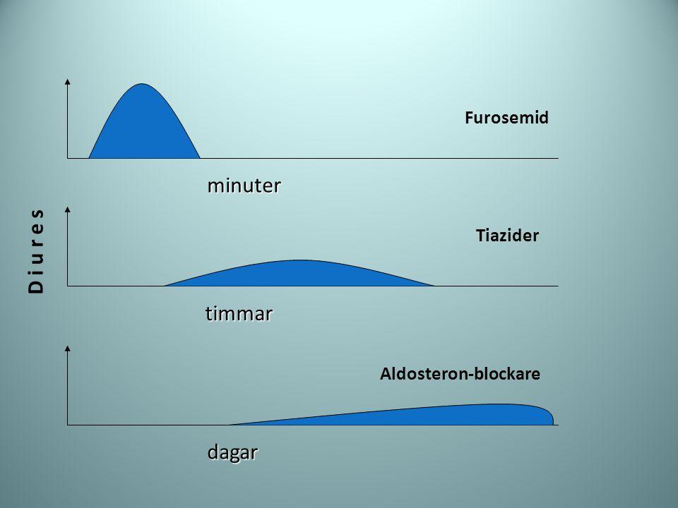 minuter D i u r e s timmar dagar Furosemid Tiazider