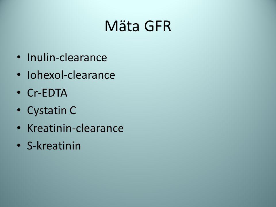 Mäta GFR Inulin-clearance Iohexol-clearance Cr-EDTA Cystatin C