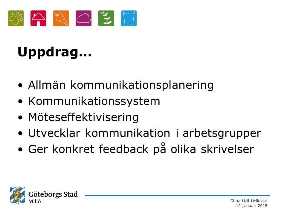 Uppdrag… Allmän kommunikationsplanering Kommunikationssystem