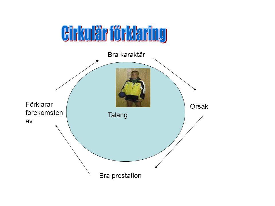 Cirkulär förklaring Bra karaktär Förklarar förekomsten av. Orsak