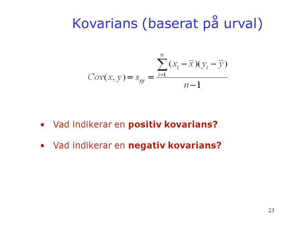 Kovarians (baserat på urval)