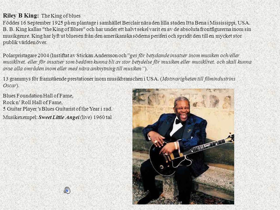 Riley B King: The King of blues Föddes 16 September 1925 på en plantage i samhället Berclair nära den lilla staden Itta Bena i Mississippi, USA. B. B. King kallas the King of Blues och har under ett halvt sekel varit en av de absoluta frontfigurerna inom sin musikgenre. King har lyft ut bluesen från den amerikanska söderns periferi och spridit den till en mycket stor publik världen över. Polarpristagare 2004 (Instiftat av Stickan Andersson och ges för betydande insatser inom musiken och/eller musiklivet, eller för insatser som bedöms kunna bli av stor betydelse för musiken eller musiklivet, och skall kunna avse alla områden inom eller med nära anknytning till musiken ).