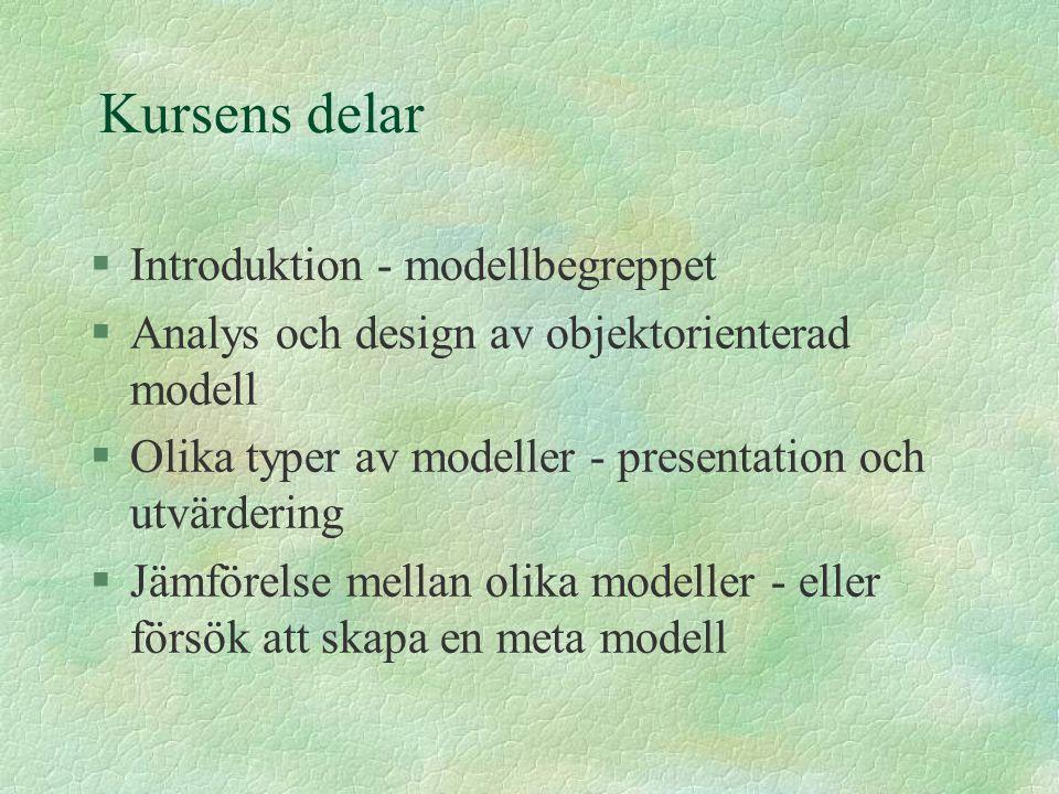 Kursens delar Introduktion - modellbegreppet