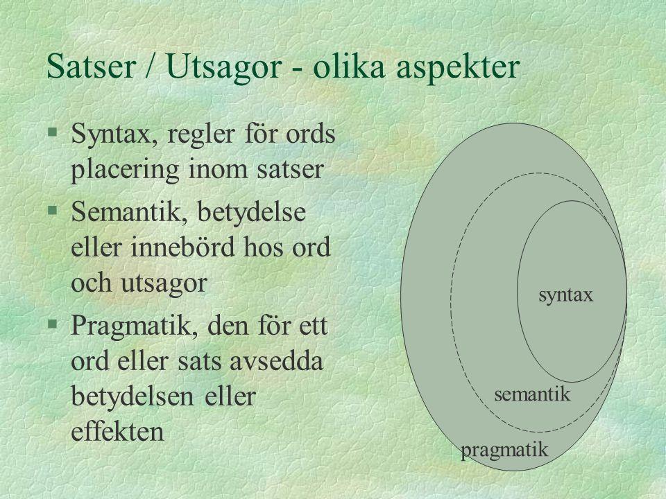 Satser / Utsagor - olika aspekter