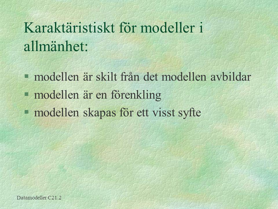 Karaktäristiskt för modeller i allmänhet:
