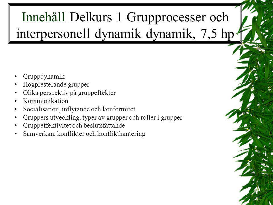 Innehåll Delkurs 1 Grupprocesser och interpersonell dynamik dynamik, 7,5 hp