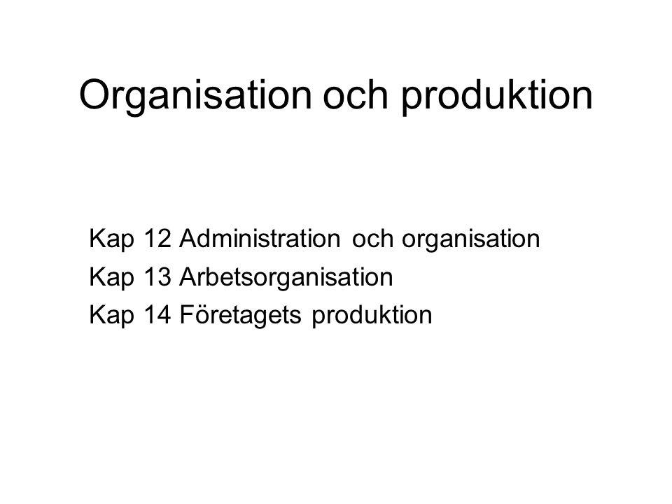 Organisation och produktion