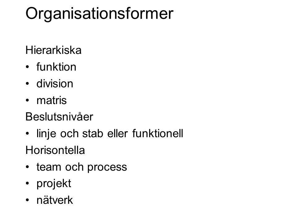 Organisationsformer Hierarkiska funktion division matris Beslutsnivåer