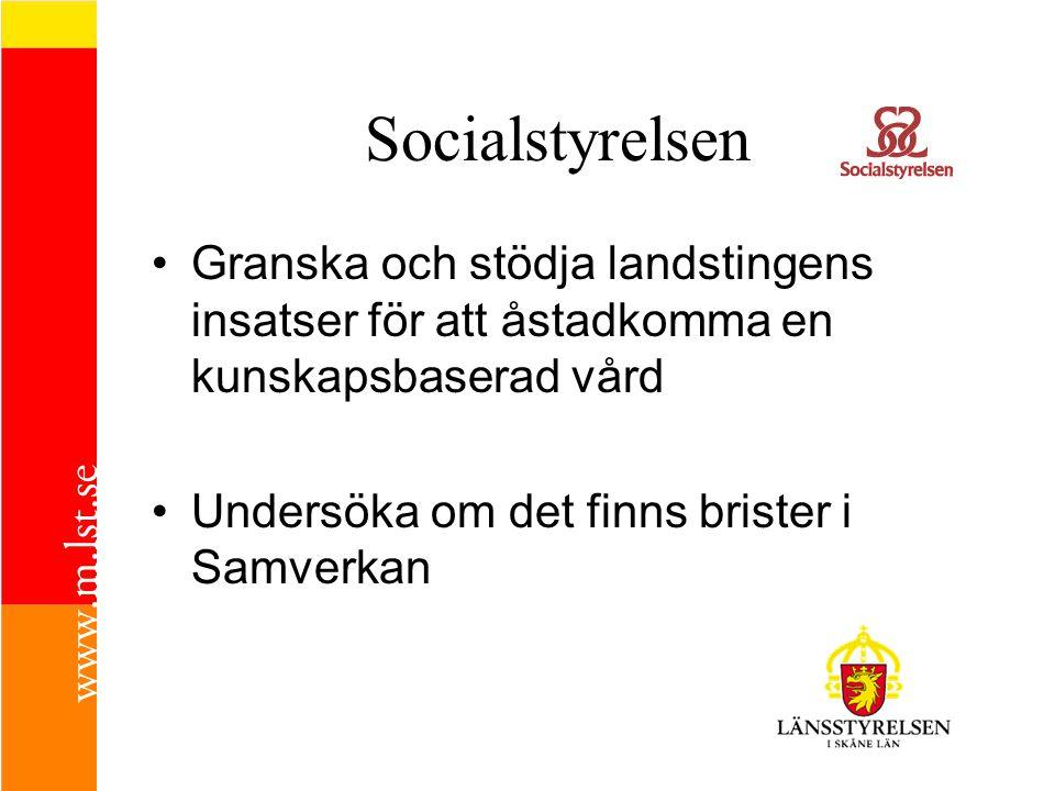 Socialstyrelsen Granska och stödja landstingens insatser för att åstadkomma en kunskapsbaserad vård.