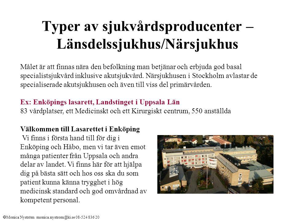 Typer av sjukvårdsproducenter – Länsdelssjukhus/Närsjukhus