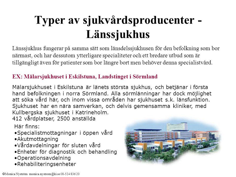 Typer av sjukvårdsproducenter -Länssjukhus