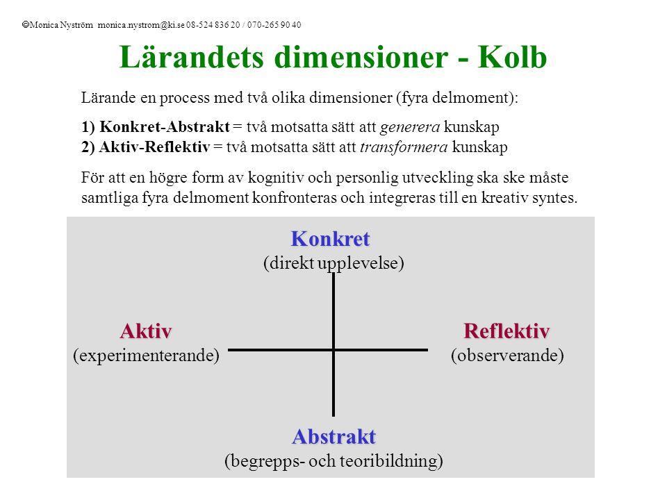 Lärandets dimensioner - Kolb