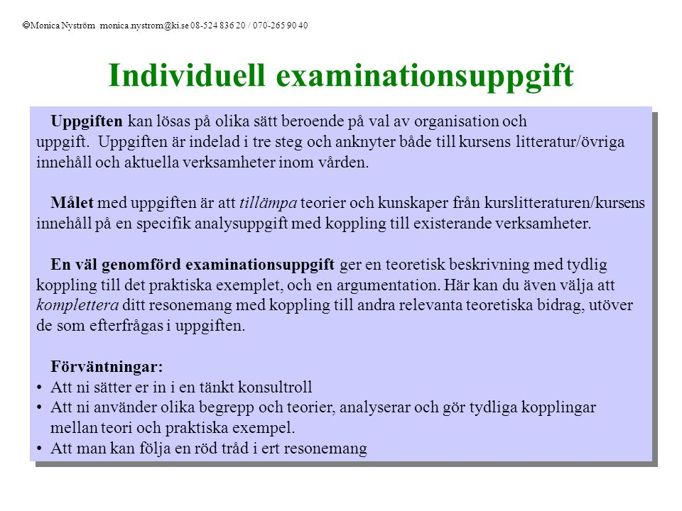 Individuell examinationsuppgift